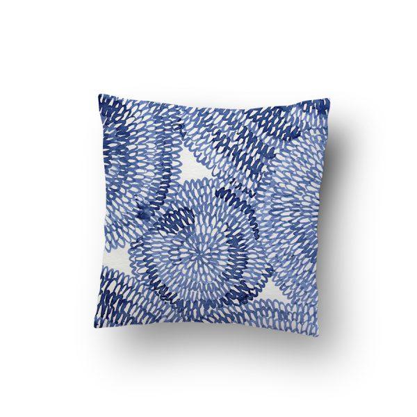 blue circles pattern cushion