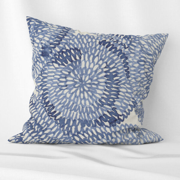 Blue circles scatter cushion