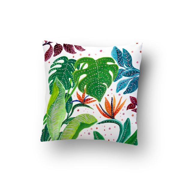 Floral and tropical design cushion