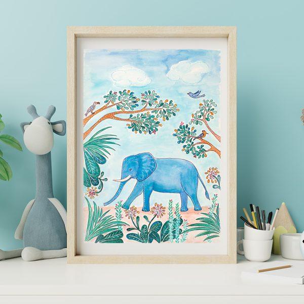Elephant and birds print
