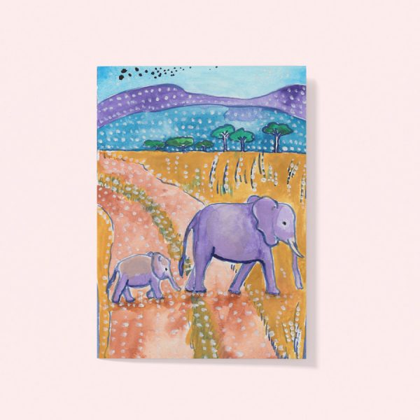 Elephant and baby card