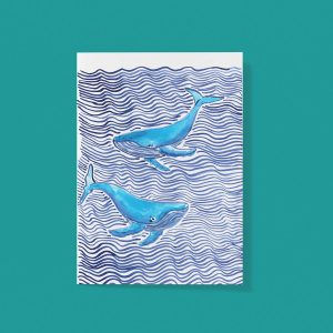 Waves and whales card