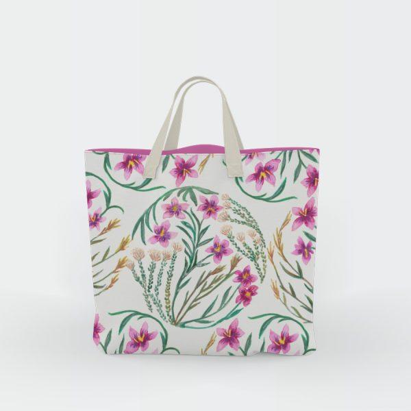 Fynbos flowers design canvas tote bag