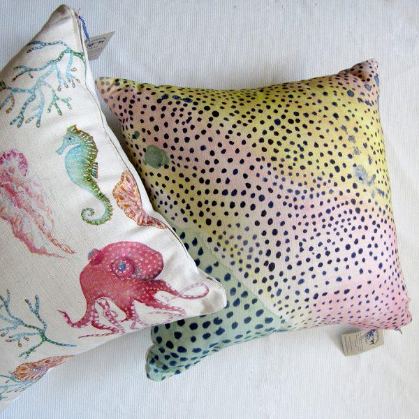 Octopus garden and dot landscape cushions detail