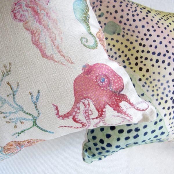 Octopus Garden printed cushion