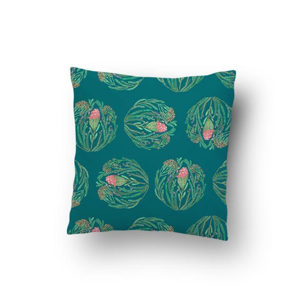 Protea and fynbos flowers cushion