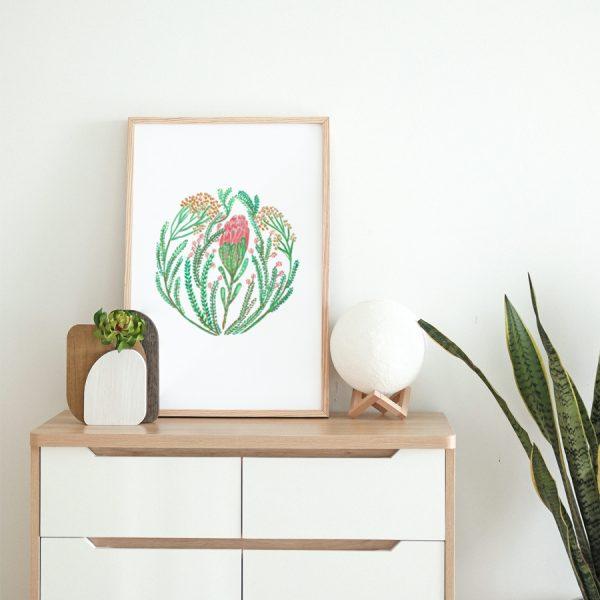Protea and fynbos art print