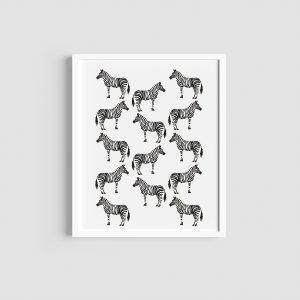 Zebra pattern monochrome art print