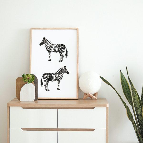 Zebra monochrome art print