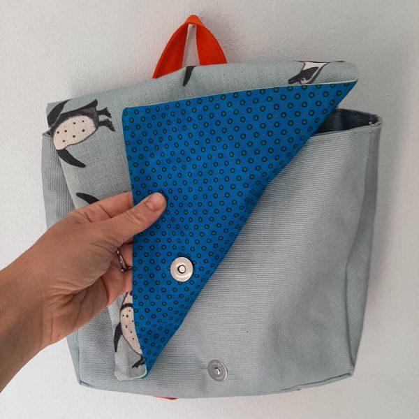Shweshwe lining kids backpack